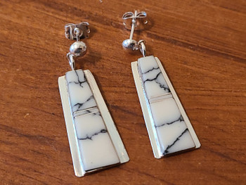 Navajo White Buffalo and Silver Earrings