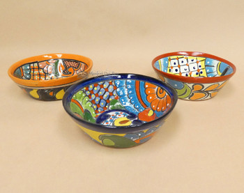 Hand Painted Mexican Talavera Wide Mouth Bowls