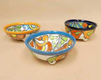 Hand Painted Mexican Talavera Footed Bowls