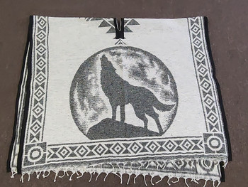 Mexican Style Wolf Blanket Poncho - Grey & white