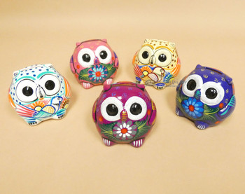 Hand Painted Pottery Owl Banks -Assorted