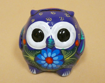 """Hand Painted Mexican Pottery Owl Bank 4"""" (95bc79)"""