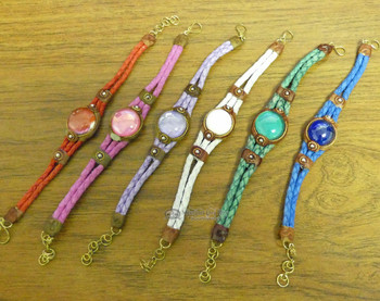 Assorted Glass Bead Braided Leather Bracelets