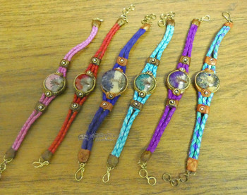 Assorted Acrylic Tree of Life Braided Leather Bracelets
