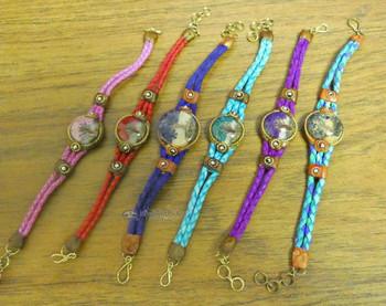 Assorted Acrylic Tree of Life Braided Leather Bracelets