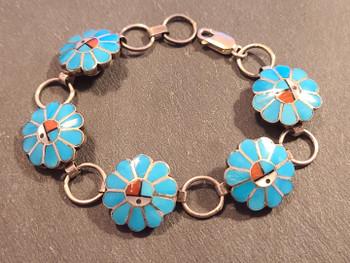 "Southwest Zuni Indian Silver Bracelet 8"" (65bc74)"