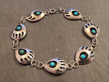 "Indian Silver Bracelet 7.5"" Bear Paw"