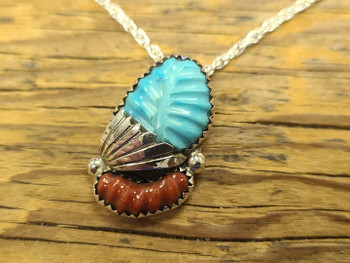 Zuni Pendant and Silver Necklace