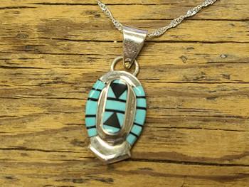 Zuni Silver Pendant Necklace