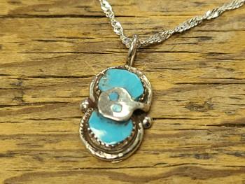 "Zuni Silver Pendant Necklace 20"" -Turquoise (65bc90)"