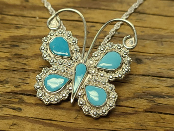 Zuni Silver Butterfly Pin/Pendant Necklace