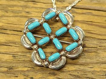 Zuni Silver Pin/Pendant Necklace
