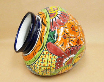 Hand Painted Mexican lat side Planter