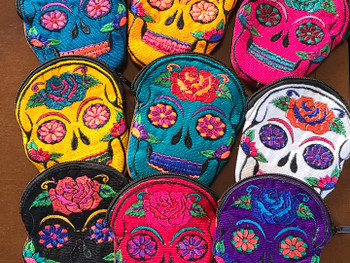 Assorted Sugar Skull Embroidered Coin Purses