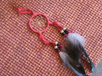 """Navajo Indian Dreamcatcher 2"""" -Red"""