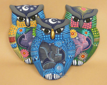 Matte Hand Painted Wall Owls