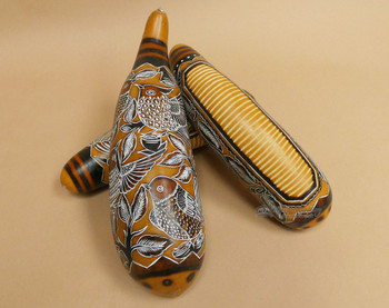 Hand Etched Gourd Guiro Instruments