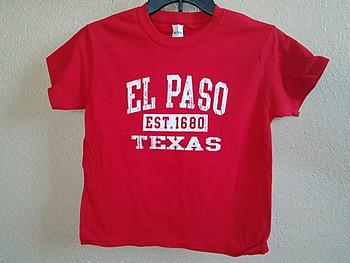 Premium Kids Size El Paso T Shirt -Red