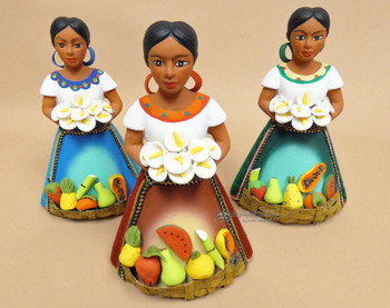 Assorted Hand Painted Maria Figurines with Flowers
