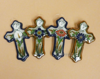"""Assorted Hand Painted Ceramic Wall Cross 4.5"""" (2bc197)"""