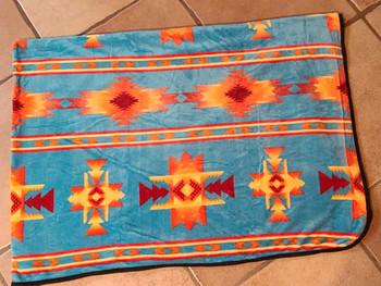 """Single Ply Plush Throw 80""""x60"""" -Navajo Turquoise"""