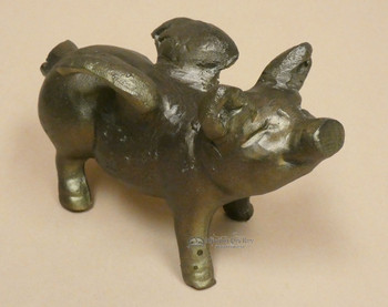 Handcrafted Recycled Aluminum Flying Pig -Bronze