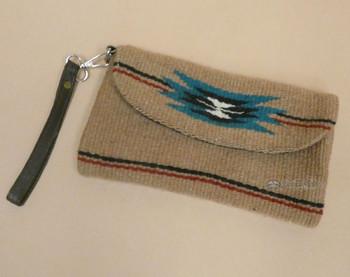 Western Wool Artisan Wristlet Purse -Front