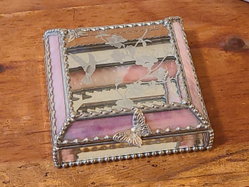 Etched Antique Stained Glass Jewelry Box