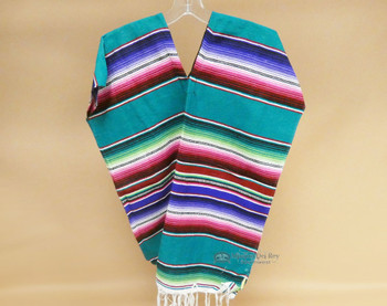 Youth Size Mexican Serape Poncho -Teal