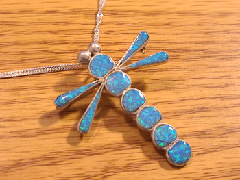 "Navajo Silver Pendant Necklace 18"" -Dragonfly (35bc41)"