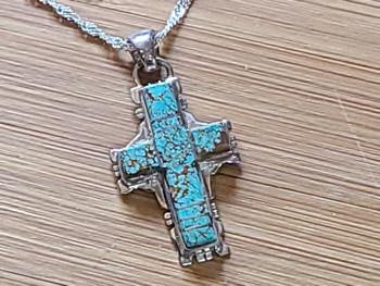 Native American Silver Cross Necklace