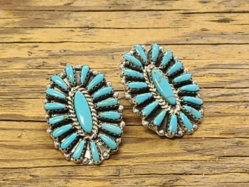 Navajo Silver Earrings -Petite Point Turquoise