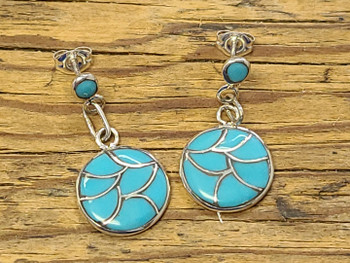 Navajo Silver Earrings -Turquoise
