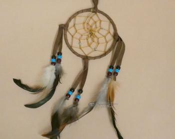 """Navajo Deer Skin Dreamcatcher 4"""" -Brown"""