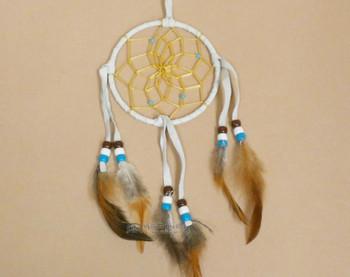 "Navajo Deer Skin Dreamcatcher 4"" -White"