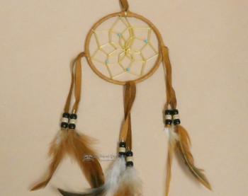 "Navajo Deer Skin Dreamcatcher 4"" -Saddle"