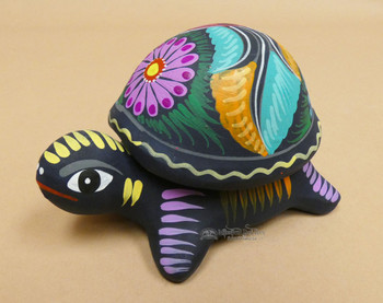 Rustic Hand Painted Clay Turtle Jewelry Box