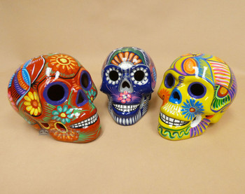 """Assorted Day of the Dead Sugar Skulls 6.5"""""""