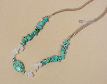 Turquoise & Rose Quartz Leather Necklace