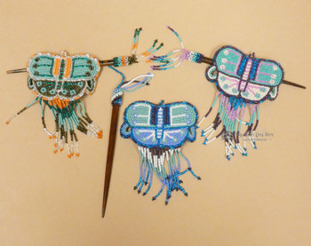 Assorted Seed Bead Butterfly Barret & Chonta Wood Hair Sticks