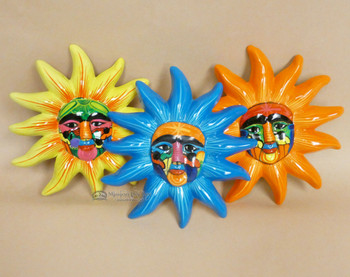 Assorted Hand Painted Ceramic Pottery Sun
