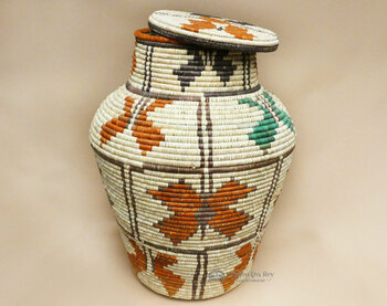"Navajo Style Cobra Basket w/ Lid 34"""