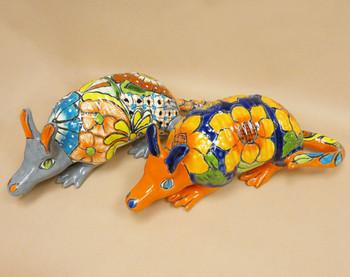 Hand Painted Mexican Talavera Armadillo