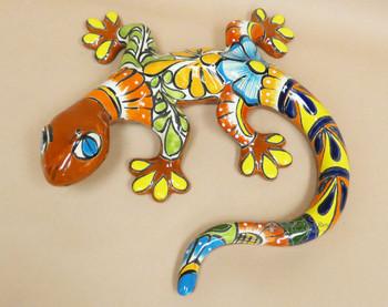"Hand Painted Mexican Talavera Lizard 19"""