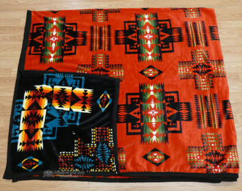 Western Fleece King Blanket -Red