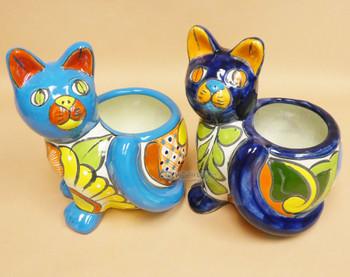 Assorted Hand Painted Talavera Cat Planter