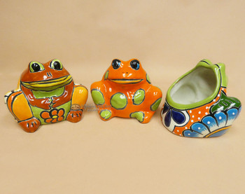 Assorted Hand Painted Talavera Frog Planter