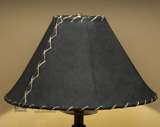 "Western Leather Lamp Shade - 16"" Black Pig Skin"