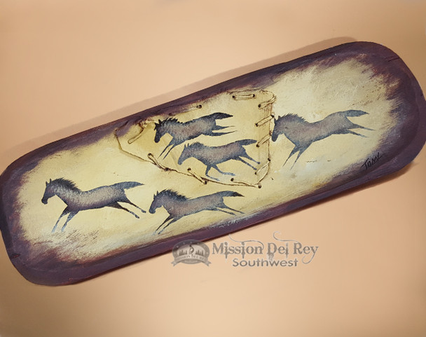 Laced and Rawhide Painted Bowl - Horses
