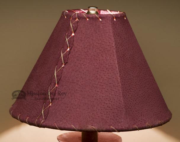 "Western Leather Lamp Shade - 10"" Burgundy Pig Skin"